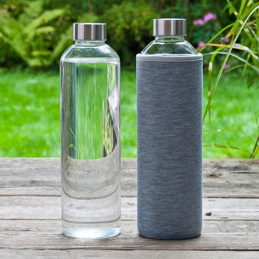 T&N Glasflasche mit grauer Ummantelung